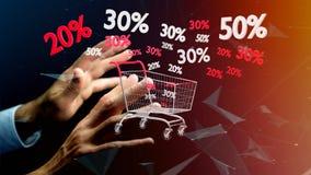 Homem de negócios que guarda um trole e um disconto vermelhos e brancos das vendas - Fotos de Stock Royalty Free