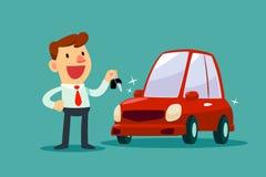 Homem de negócios que guarda uma chave de seu carro novo Imagens de Stock Royalty Free