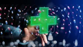 Homem de negócios que guarda uma cruz da farmácia da iluminação e um estetoscópio Imagens de Stock