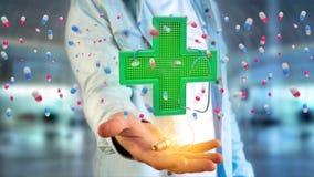 Homem de negócios que guarda uma cruz da farmácia da iluminação e um estetoscópio Imagem de Stock Royalty Free