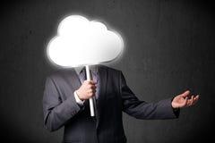Homem de negócios que guarda uma nuvem Foto de Stock Royalty Free