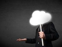Homem de negócios que guarda uma nuvem Imagem de Stock Royalty Free