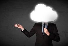Homem de negócios que guarda uma nuvem Fotografia de Stock