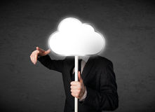 Homem de negócios que guarda uma nuvem Imagem de Stock