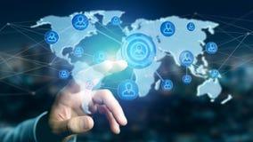 Homem de negócios que guarda uma rede sobre um mapa do mundo conectado - 3d com referência a Imagem de Stock Royalty Free