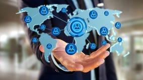 Homem de negócios que guarda uma rede sobre um mapa do mundo conectado - 3d com referência a Imagens de Stock Royalty Free