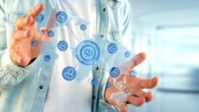 Homem de negócios que guarda uma rede sobre um mapa do mundo conectado - 3d com referência a Fotografia de Stock Royalty Free