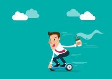 Homem de negócios que guarda uma xícara de café que vai trabalhar pelo hoverboard Ilustração isolada do vetor Imagem de Stock Royalty Free