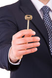 Homem de negócios que guardara a chave. foto de stock royalty free
