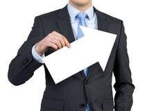Homem de negócios que guardara a seta Imagens de Stock Royalty Free