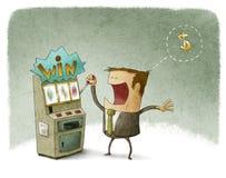 Homem de negócios que joga no slot machine ilustração royalty free