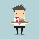 Homem de negócios que leva uma bandeja de alimento Imagem de Stock Royalty Free