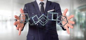 Homem de negócios que mantém um cubo do blockchain da rendição 3d isolado na Imagens de Stock