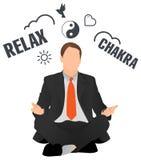 Homem de negócios que medita e que relaxa ilustração royalty free