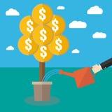 Homem de negócios que molha uma árvore do dinheiro Fotos de Stock