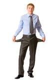 Homem de negócios que mostra bolsos Imagens de Stock Royalty Free