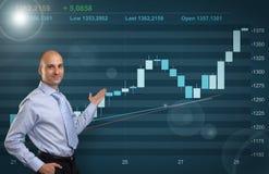 Homem de negócios que mostra o gráfico do mercado de valores de ação Foto de Stock