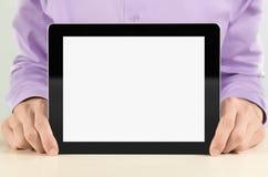 Homem de negócios que mostra o PC em branco da tabuleta Imagem de Stock