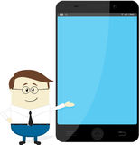 Homem de negócios que mostra o smartphone grande Imagem de Stock