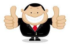 Homem de negócios que mostra os polegares acima. Camadas separadas Imagem de Stock