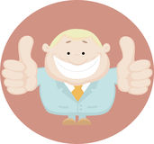 Homem de negócios que mostra os polegares acima. Ilustração do vetor Imagem de Stock Royalty Free