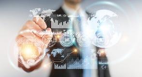 Homem de negócios que move dados digitais com uma rendição tátil da pena 3D Fotografia de Stock