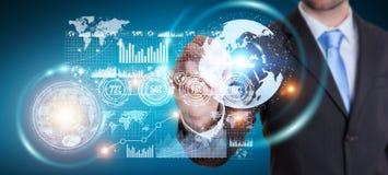 Homem de negócios que move dados digitais com uma rendição tátil da pena 3D Imagens de Stock Royalty Free