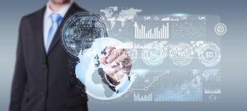 Homem de negócios que move dados digitais com uma rendição tátil da pena 3D Imagem de Stock
