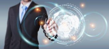 Homem de negócios que move dados digitais com uma rendição tátil da pena 3D Imagem de Stock Royalty Free