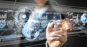 Homem de negócios que move dados digitais com uma rendição tátil da pena 3D Imagens de Stock