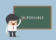 Homem de negócios que muda a palavra impossível em possível, Motivati Fotos de Stock