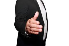Homem de negócios que oferece agitar sua mão Imagens de Stock Royalty Free