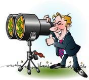 Homem de negócios que olha através dos binóculos para o dinheiro Imagens de Stock