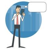 Homem de negócios que olha uma tabuleta e um pensamento Fotografia de Stock