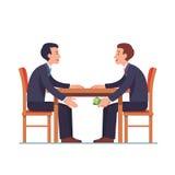 Homem de negócios que passa o dinheiro sob a tabela ao sócio ilustração do vetor