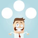 Homem de negócios que pensa bolhas vazias Foto de Stock