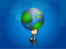 Homem de negócios que prende o globo Fotos de Stock