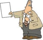 Homem de negócios que prende um papel em branco ilustração stock