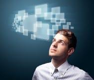 Homem de negócios que pressiona o tipo alta tecnologia de botões modernos Imagens de Stock Royalty Free