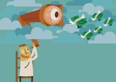 Homem de negócios que procura o dinheiro no céu ilustração stock