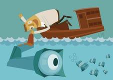 Homem de negócios que procura o dinheiro sob o oceano ilustração royalty free