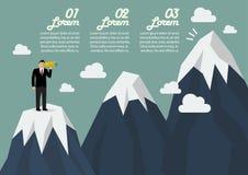 Homem de negócios que procura o pico de montanha infographic ilustração stock
