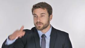 Homem de negócios que procura a possibilidade nova vídeos de arquivo