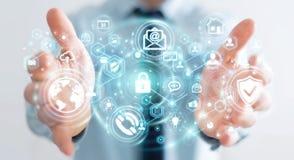 Homem de negócios que protege seu renderin das informações pessoais 3D dos dados Imagem de Stock
