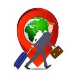 Homem de negócios que puxa a mala de viagem e a pasta do saco do curso com ícone do mundo do lugar, elementos do mapa da terra fo Imagens de Stock Royalty Free