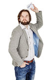 Homem de negócios que rasga acima um original imagem de stock