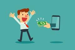 Homem de negócios que recebe o dinheiro do telefone esperto Fotografia de Stock