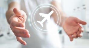 Homem de negócios que registra o seu voo com aplicação digital moderna 3 Imagem de Stock Royalty Free