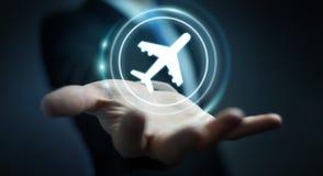 Homem de negócios que registra o seu voo com aplicação digital moderna 3 Foto de Stock