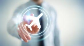 Homem de negócios que registra o seu voo com aplicação digital moderna 3 Imagens de Stock